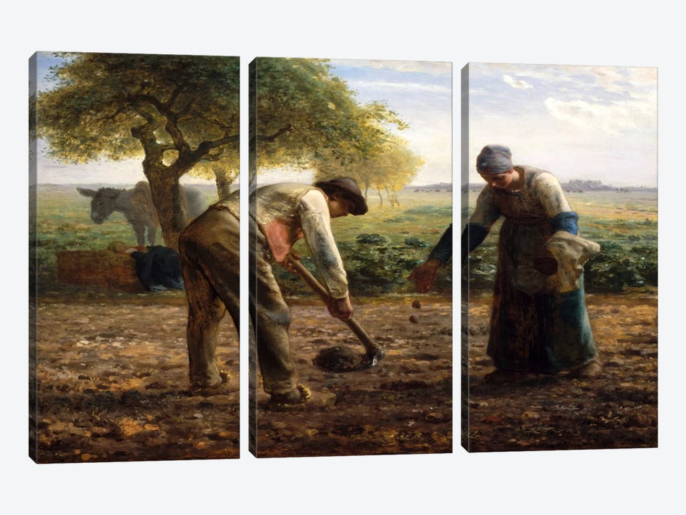 Potato Planters by Jean-Francois Millet 3-piece Canvas Print