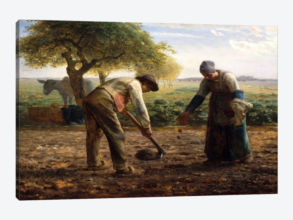 Potato Planters by Jean-Francois Millet 1-piece Canvas Print