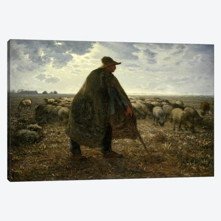 Shepard Tending His Flock Canvas Print #15101} by Jean-Francois Millet Canvas Art Print