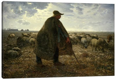 Shepard Tending His Flock Canvas Art Print
