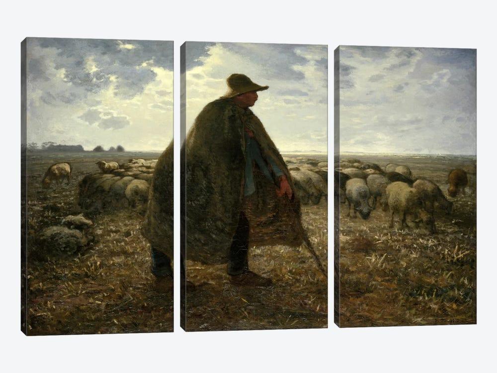 Shepard Tending His Flock by Jean-Francois Millet 3-piece Canvas Art