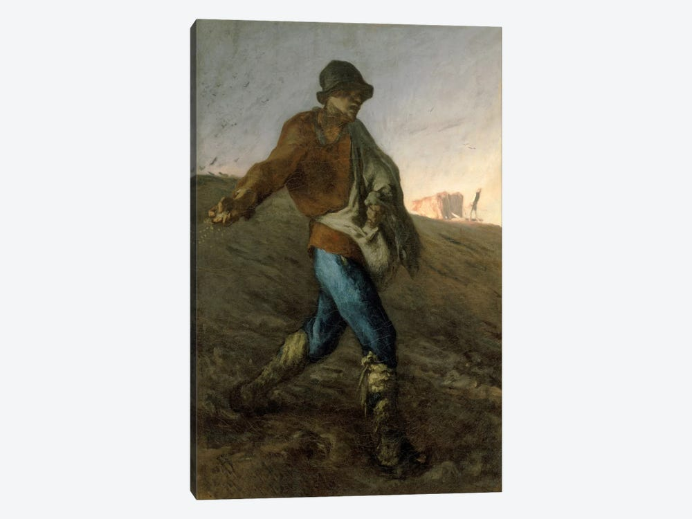 0.75 by 60 by 40-Inch iCanvasART 3-Piece The Man with The Hoe Canvas Print by Jean Francois Millet