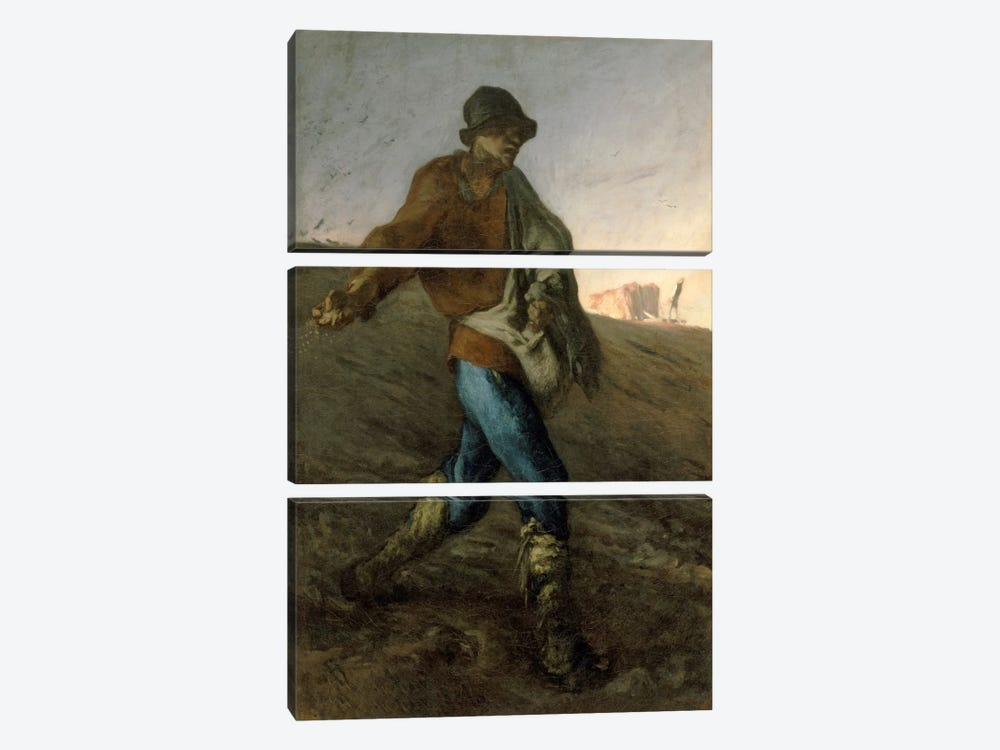 The Sower, 1850 (Museum Of Fine Arts, Boston) by Jean-Francois Millet 3-piece Canvas Print