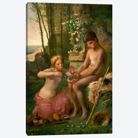 Spring (Daphnis and Chloe) Canvas Print #15106} by Jean-Francois Millet Canvas Wall Art