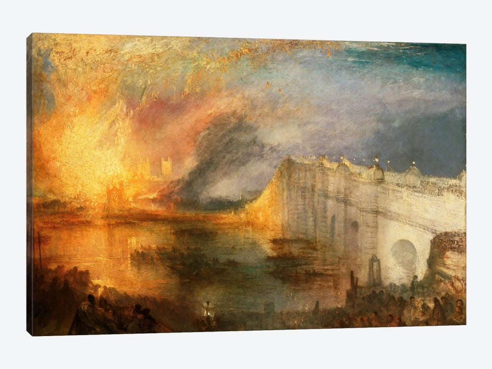 Burning of the Houses of Parliament by J.M.W. Turner 1-piece Canvas Art Print