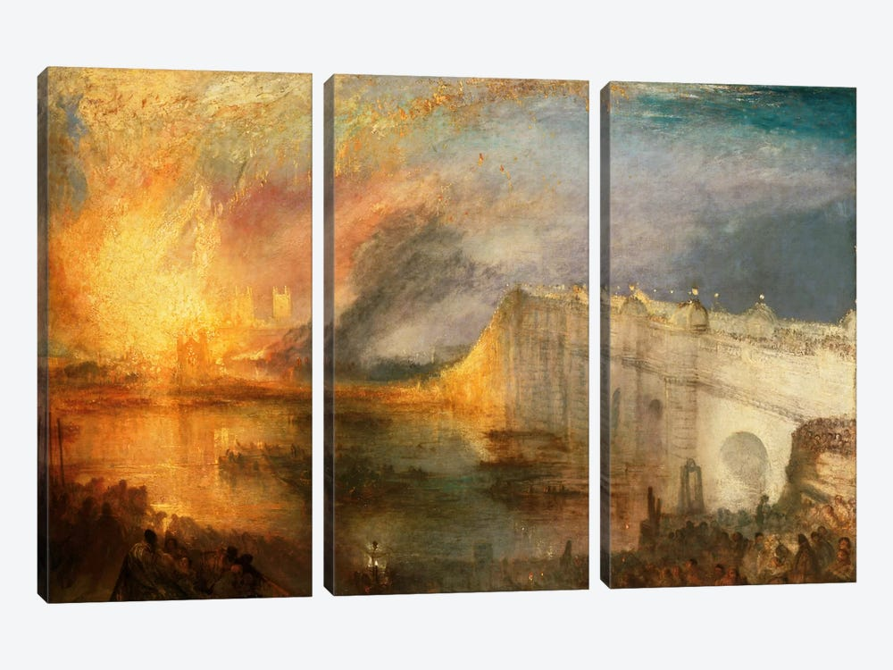 Burning of the Houses of Parliament by J.M.W. Turner 3-piece Canvas Art Print