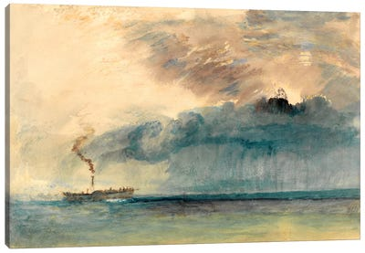 A Paddle Steamer in a Storm Canvas Art Print
