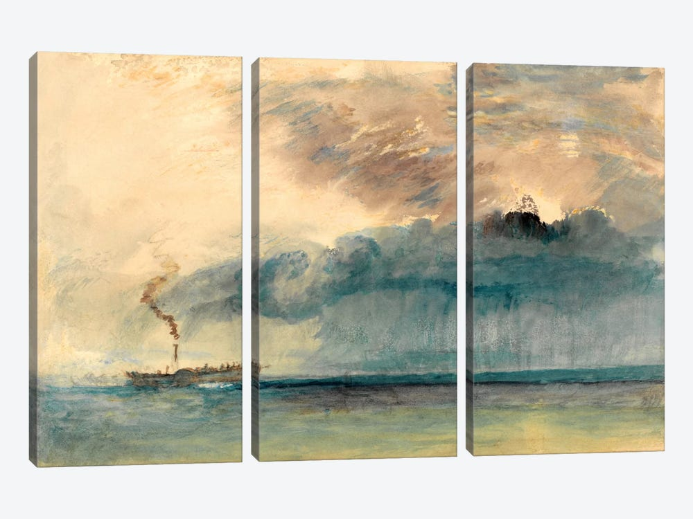 A Paddle Steamer in a Storm by J.M.W. Turner 3-piece Canvas Art