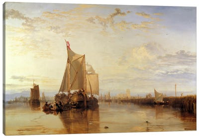 Dort or Dordrecht: The Dort Packet-Boat from Rotterdam Becalmed Canvas Art Print