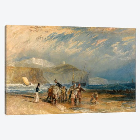 Folkestone Harbour and Coast to Dover Canvas Print #15117} by J.M.W. Turner Canvas Art Print