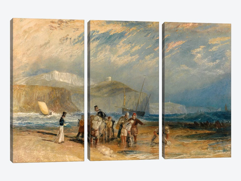 Folkestone Harbour and Coast to Dover by J.M.W Turner 3-piece Canvas Art Print