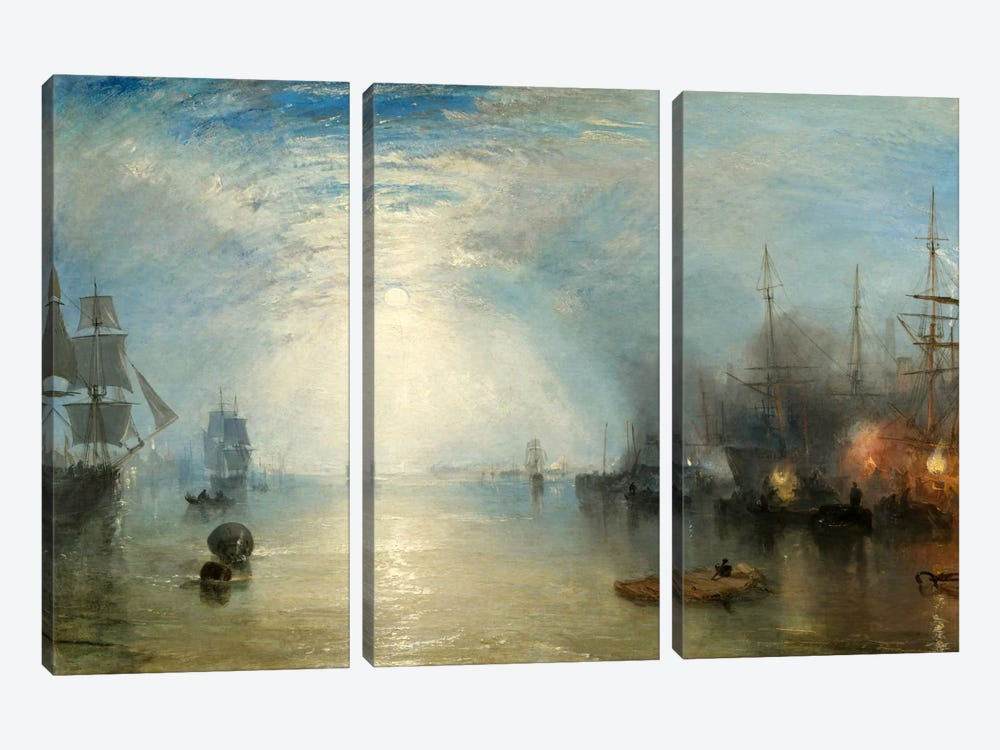 Keelman Heaving in Coals by Moonlight by J.M.W. Turner 3-piece Canvas Print