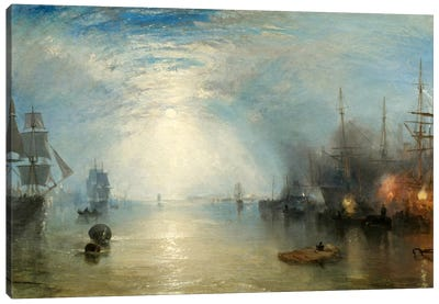 Keelman Heaving in Coals by Moonlight Canvas Art Print