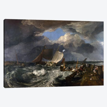 Calais Pier Canvas Print #15128} by J.M.W. Turner Canvas Art Print