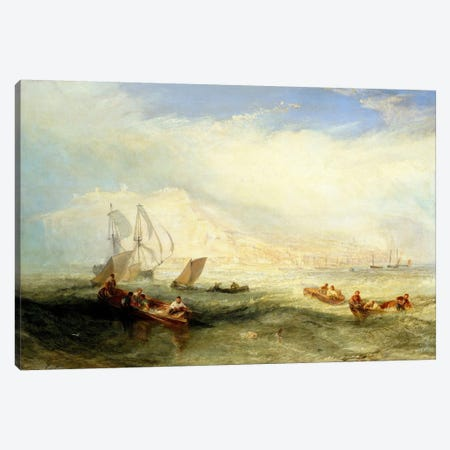 Line Fishing, Off Hastings Canvas Print #15132} by J.M.W Turner Canvas Wall Art