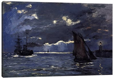 A Seascape, Shipping by Moonlight Canvas Print #15134
