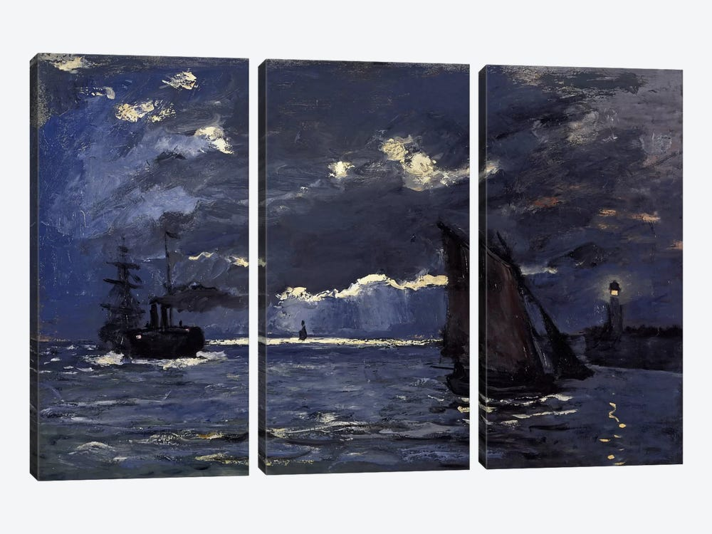 A Seascape, Shipping by Moonlight by Claude Monet 3-piece Canvas Wall Art