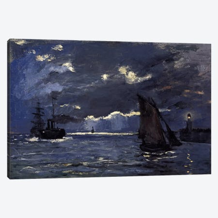 A Seascape, Shipping by Moonlight Canvas Print #15134} by Claude Monet Canvas Art Print