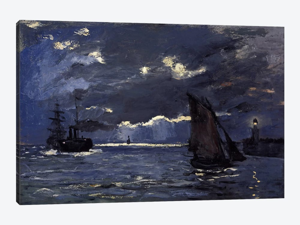 A Seascape, Shipping by Moonlight by Claude Monet 1-piece Canvas Wall Art