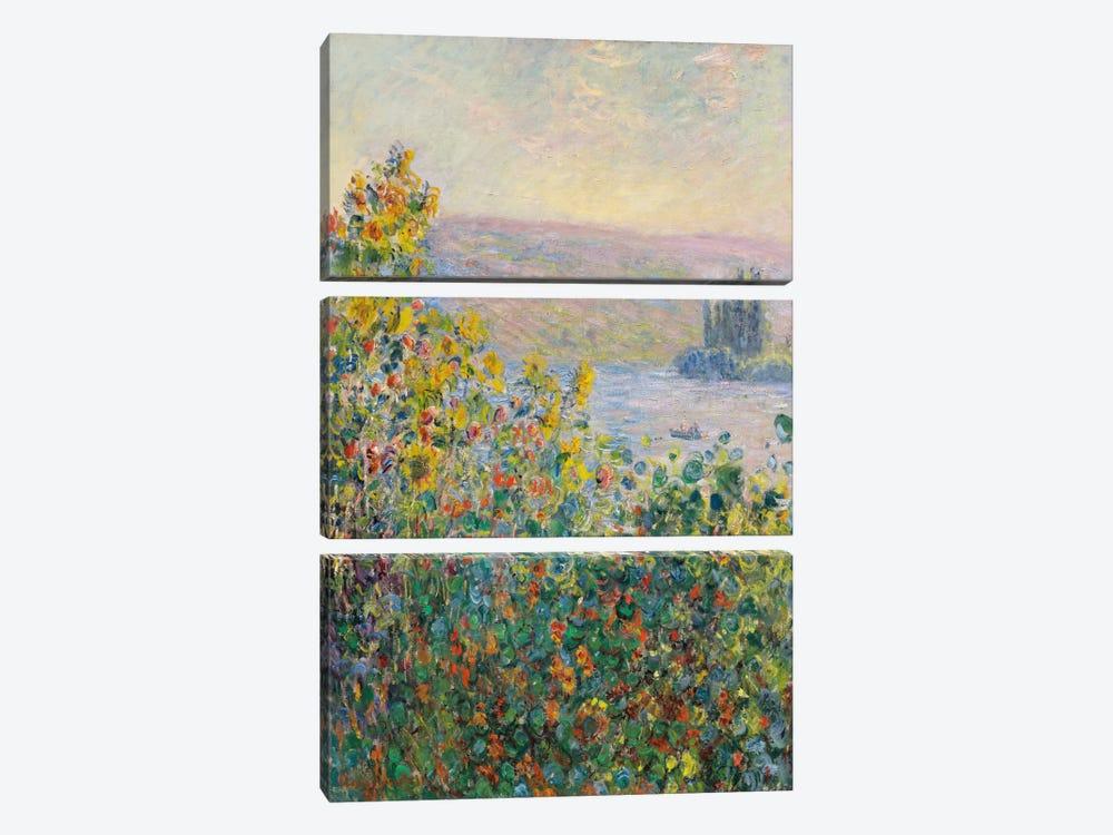 Flower Beds at Vetheuil by Claude Monet 3-piece Canvas Art Print