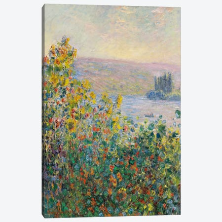Flower Beds at Vetheuil Canvas Print #15135} by Claude Monet Canvas Print