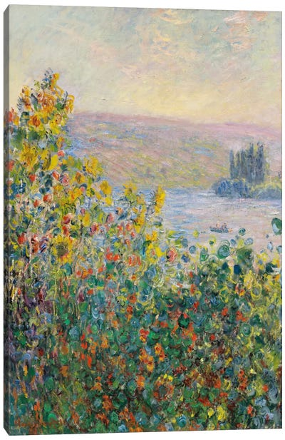 Flower Beds at Vetheuil Canvas Art Print