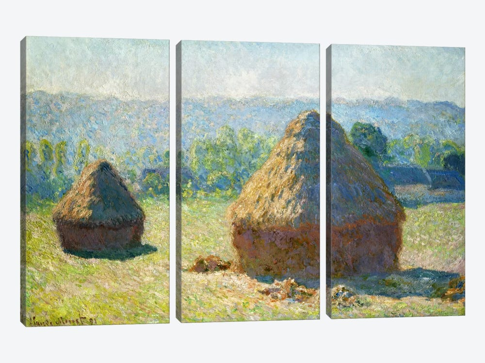 Haystack - End of the Summer by Claude Monet 3-piece Art Print