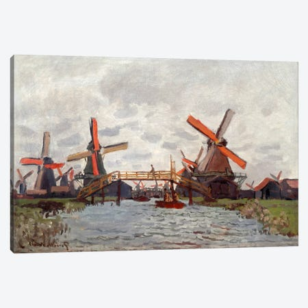 Mills in the Westzijderveld near Zaandam Canvas Print #15138} by Claude Monet Canvas Wall Art