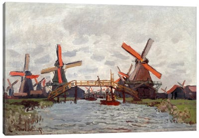 Mills in the Westzijderveld near Zaandam Canvas Art Print