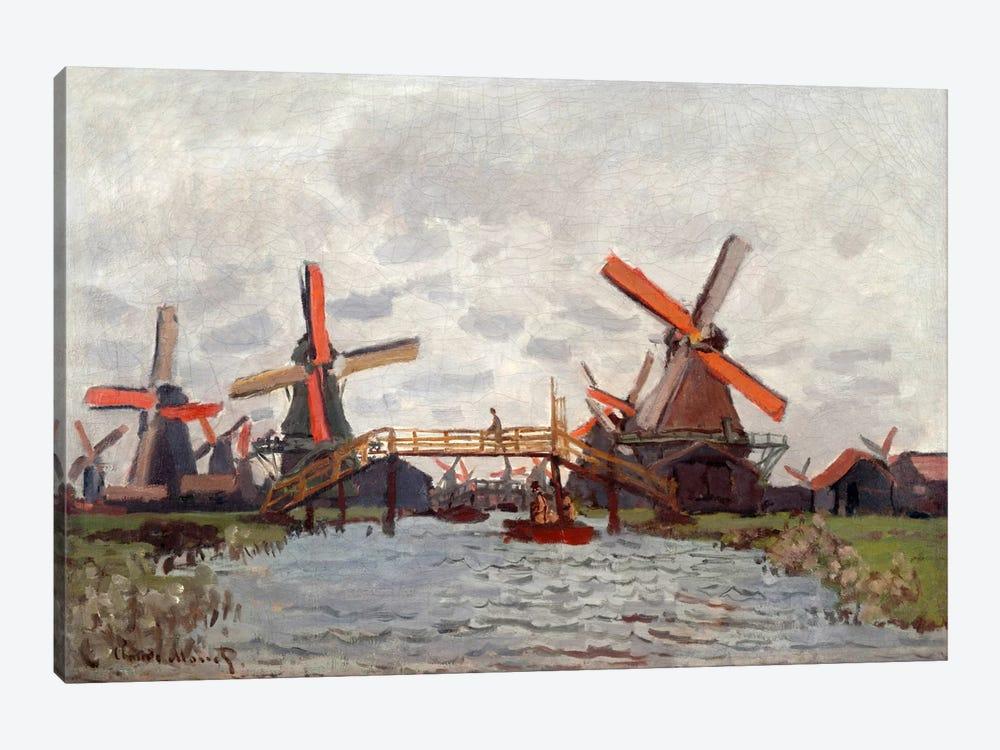 Mills in the Westzijderveld near Zaandam by Claude Monet 1-piece Canvas Art
