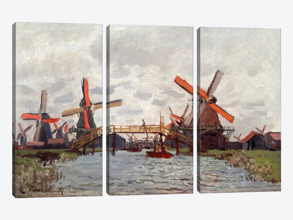 Mills in the Westzijderveld near Zaandam by Claude Monet 3-piece Canvas Artwork