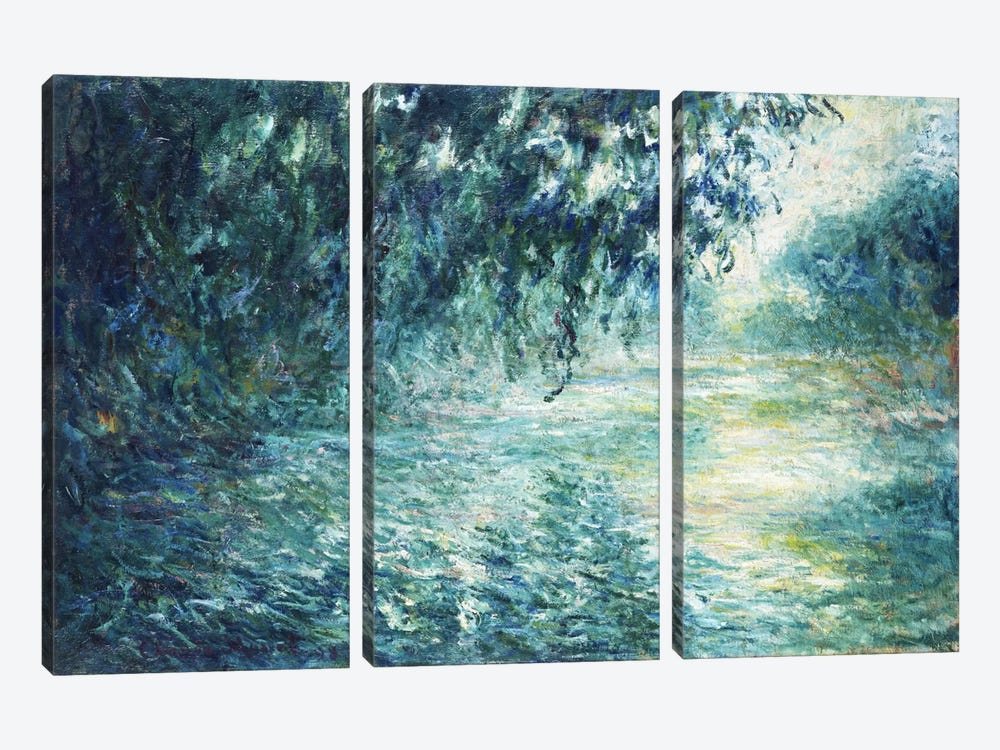 Morning on the Seine, near Giverny by Claude Monet 3-piece Canvas Art Print