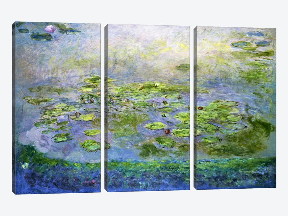 Nympheas (Waterlilies), 1917 by Claude Monet 3-piece Canvas Artwork
