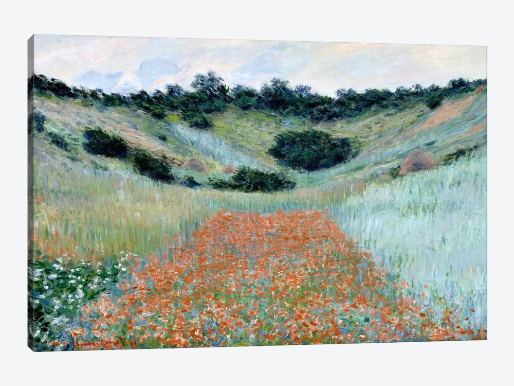 Poppy Field in a Hollow Near Giverny by Claude Monet 1-piece Canvas Wall Art