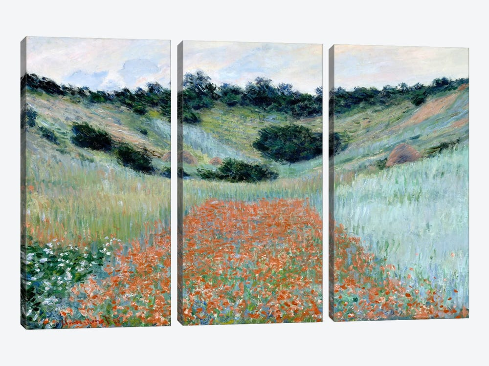 Poppy Field in a Hollow Near Giverny by Claude Monet 3-piece Canvas Artwork