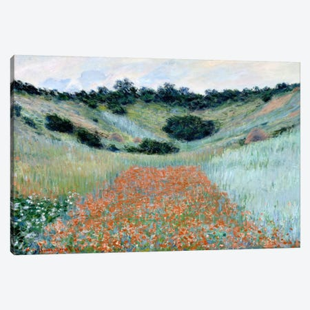 Poppy Field in a Hollow Near Giverny Canvas Print #15143} by Claude Monet Art Print