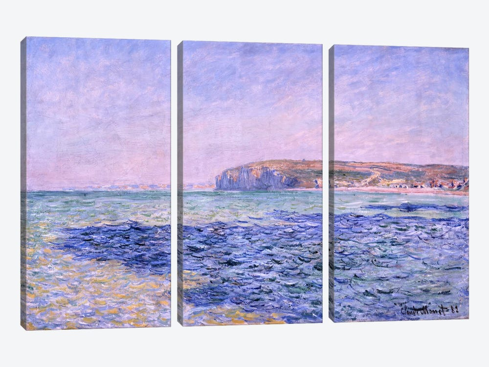 Shadows on the Sea - The Cliffs at Pourville by Claude Monet 3-piece Canvas Print