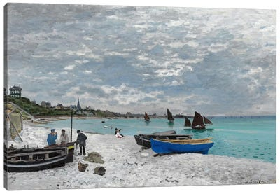 The Beach at Saint-Adresse Canvas Art Print
