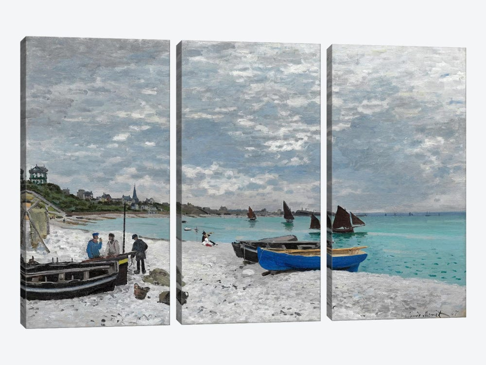 The Beach at Saint-Adresse by Claude Monet 3-piece Canvas Art