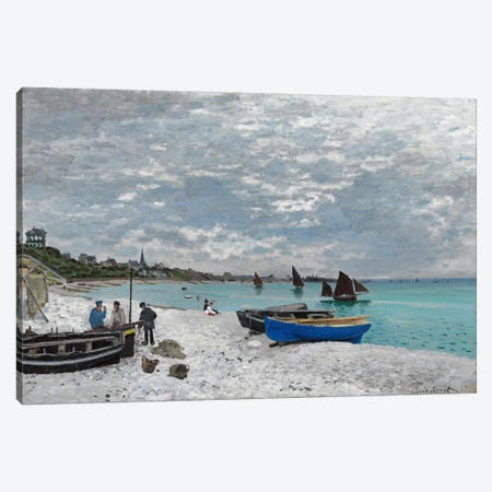 The Beach at Saint-Adresse Canvas Print #15145} by Claude Monet Canvas Art