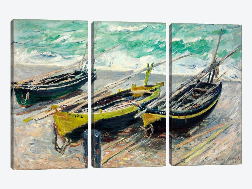 Three Fishing Boats by Claude Monet 3-piece Canvas Art Print
