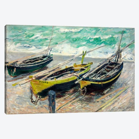 Three Fishing Boats Canvas Print #15146} by Claude Monet Canvas Wall Art