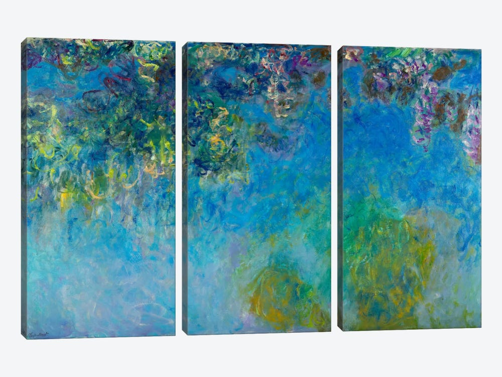Wisteria by Claude Monet 3-piece Canvas Print