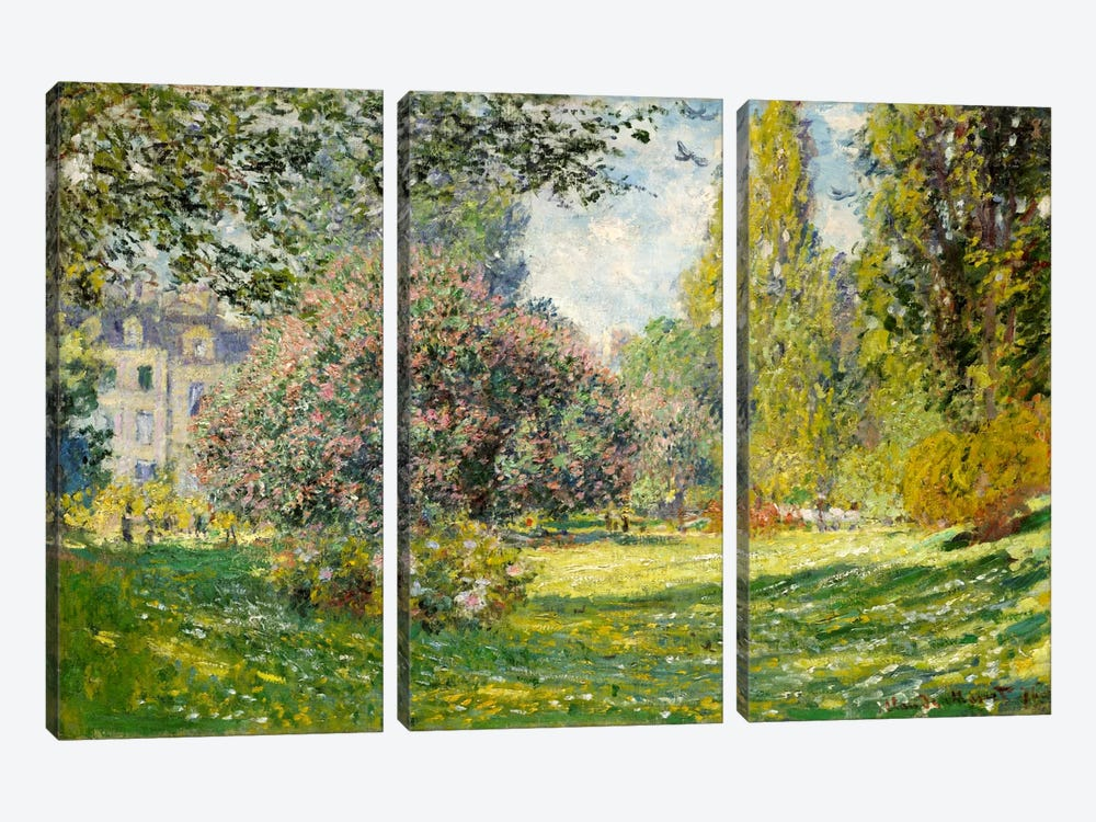Landscape: The Parc Monceau by Claude Monet 3-piece Canvas Art
