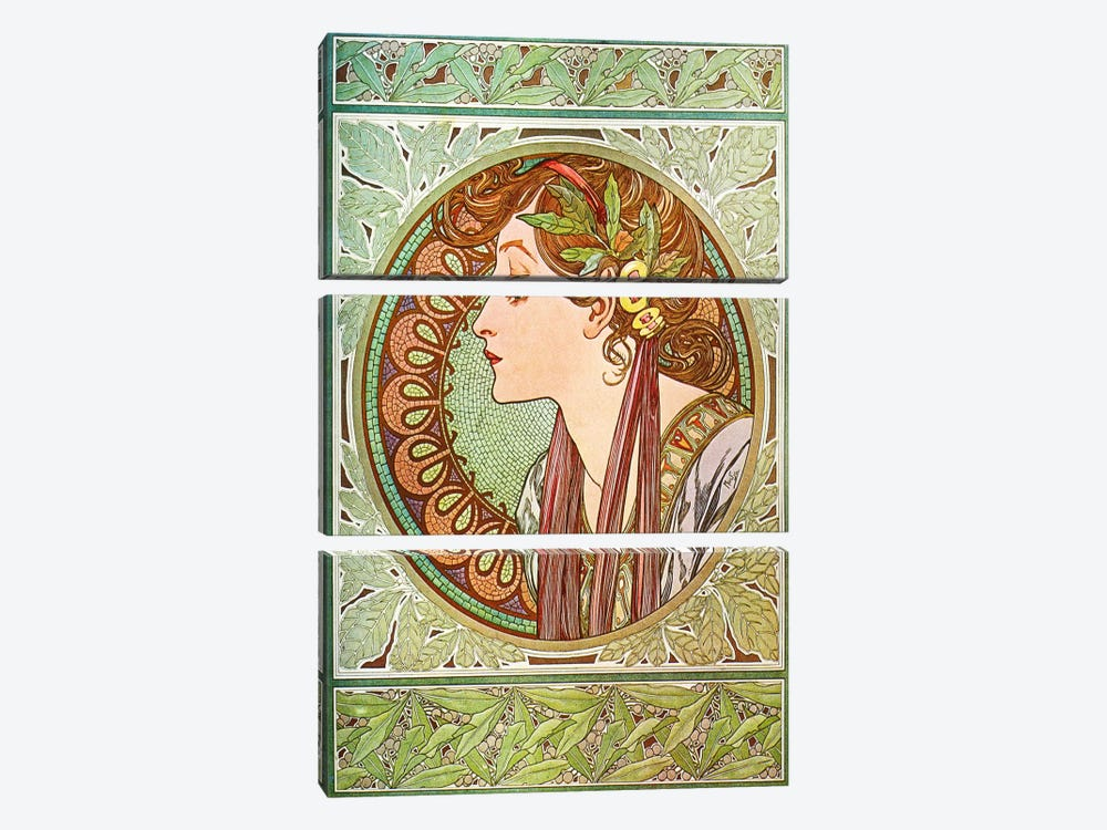 Laurel (1901) by Alphonse Mucha 3-piece Canvas Wall Art