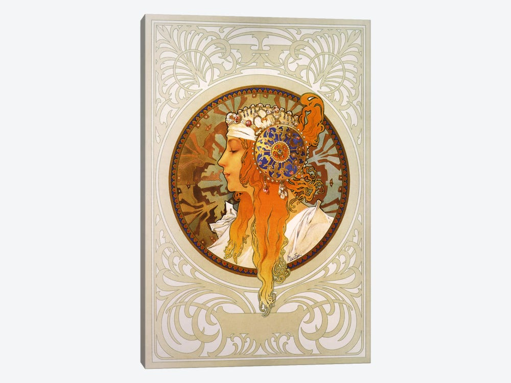 Tetes Byzantines: Blonde (1897) by Alphonse Mucha 1-piece Canvas Art Print