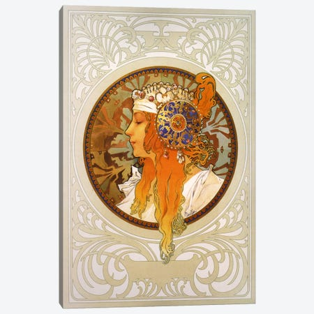 Tetes Byzantines: Blonde (1897) Canvas Print #15162} by Alphonse Mucha Art Print