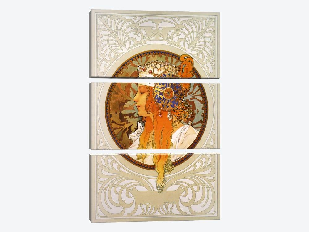 Tetes Byzantines: Blonde (1897) by Alphonse Mucha 3-piece Art Print