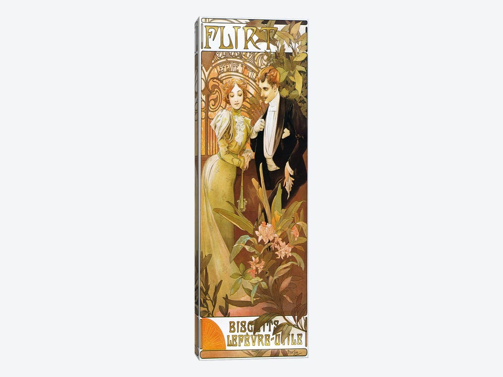 Flirt' Biscuits by 'Lefevre-Utile' 1899 by Alphonse Mucha 1-piece Canvas Art