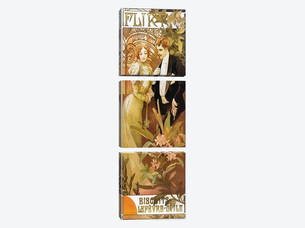 Flirt' Biscuits by 'Lefevre-Utile' 1899 by Alphonse Mucha 3-piece Canvas Art